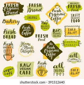 Bio organic labels set. Fresh Bread Bakery. Farmers' Market. Food and drinks for healthy life. Fresh organic food and coffee labels collection. Logo templates. Beautiful calligraphic badges in vector