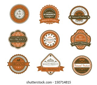 Bio and organic labels set in retro style. Bitmap (jpeg) version also available in gallery
