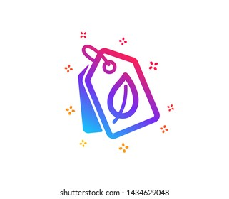 Bio shopping tags icon. Leaf sign. Natural products symbol. Dynamic shapes. Gradient design bio tags icon. Classic style. Vector