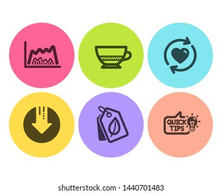 Bio tags, Download arrow and Bombon coffee icons simple set. Update relationships, Trade chart and Education idea signs. Leaf, Crisis. Flat bio tags icon. Circle button. Vector