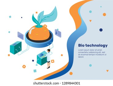 Bio Technology. Isometric Concept.