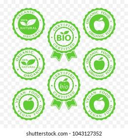 bio, vegan, organic food and products icon set, bio, vegan, organic packaging batch sticker symbols