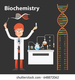 Biochemistry scientist genetic chemistry vector illustration character