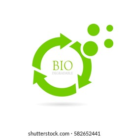 Biodegradable abstract vector icon on white background