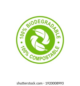 Biodegradable and compostable logo design. Suitable for nature, business, nature symbol and product label