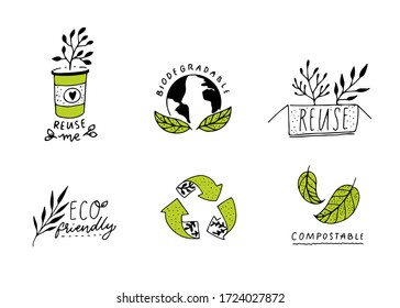 Biodegradable and compostable sign. Reduce, reuse and recycle concept badges for eco friendly packaging. Set of green ecological emblems, line illustration. Craft hand drawn style