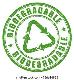 Biodegradable green rubber stamp vector illustration on white background