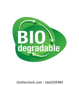 Biodegradable material sign - pictogram for eco-friendly compostable production - environment protection emblem
