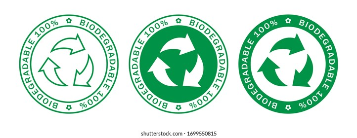 Biodegradable on 100% label stamps icon set. Recyclable and biodegradable packaging logo signs isolated on white background. Vector illustration