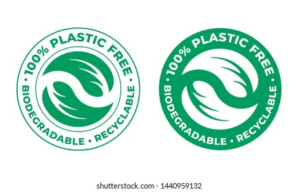 Biodegradable, plastic free recyclable vector icon. 100 percent bio recyclable package green stamp logo