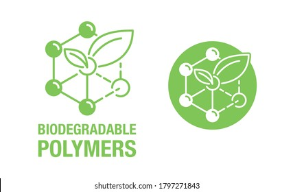 Biodegradable polymers icon - green emblem with plastic polymer molecular structure and plant leaf inside - eco-friendly plastic products marking