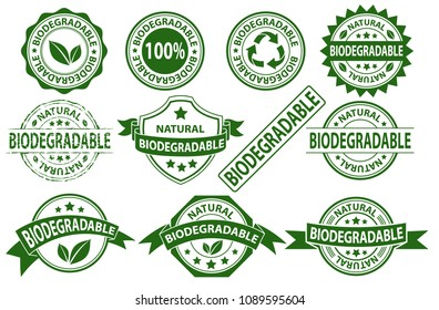 Biodegradable rubber stamp label sign symbol, natural product label, vector set of compostable sticker on white background
