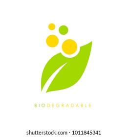 Biodegradable vector logo illustration isolated on white background