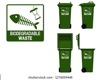 biodegradable waste icon and bin on transparent background