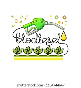 Biodiesel green energy concept. Linear Flat illustration with natural biofuel pump icon, leaves and lettering isolated on white background. Biodiesel vector icon.