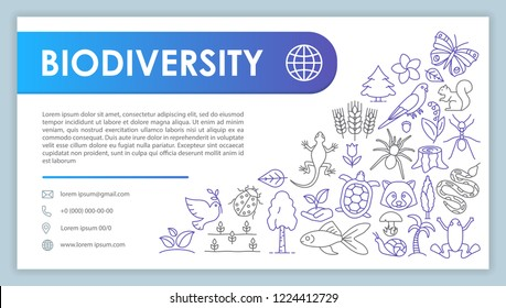 Biodiversity advertising web banner vector template. Zoology and botany. Website contact page. Flora, fauna specie. Nature saving. Plants, animals. Business card layout. Webpage template. Print design