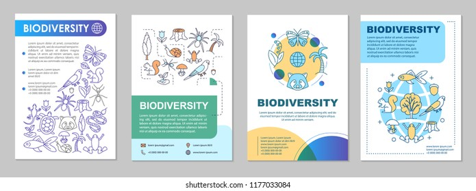 Biodiversity brochure template layout. Flora and fauna. Animals and plants. Flyer, booklet, leaflet print design with linear illustrations. Vector page for magazine, annual report, advertising poster