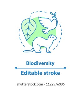 Biodiversity concept icon. Biology and ecology idea thin line illustration. Environment. Flora and fauna. Vector isolated outline drawing. Editable stroke