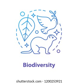 Biodiversity concept icon. Biology and ecology idea thin line illustration. Environment. Flora and fauna. Vector isolated outline drawing