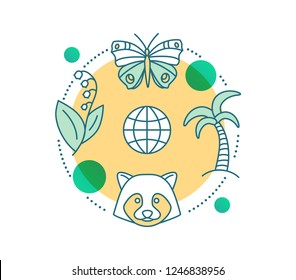 Biodiversity concept icon. Flora, fauna idea thin line illustration. Biology. Animals, plants protection. Nature. Vector isolated outline drawing