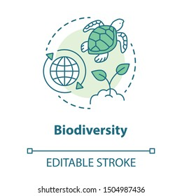 Biodiversity concept icon. Natural ecosystem protection idea thin line illustration. Wild life and marine habitants conservation. Nature saving. Vector isolated outline drawing. Editable stroke