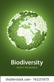 Biodiversity globe poster with a ecological and green message, focused on Europe and Africa.