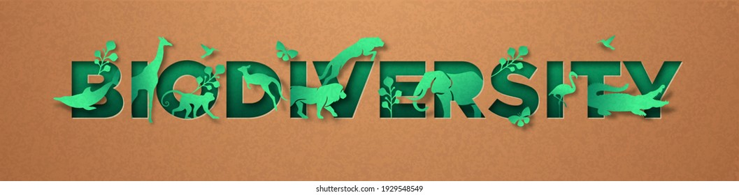 Biodiversity green papercut sign, realistic 3d recycled paper texture cutout. Diverse wild animals and plant leaf for eco friendly concept. Includes lion, giraffe, elephant, monkey. - Shutterstock ID 1929548549