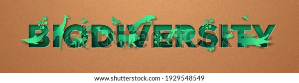 Biodiversity green papercut sign, realistic 3d recycled paper texture cutout. Diverse wild animals and plant leaf for eco friendly concept. Includes lion, giraffe, elephant, monkey.