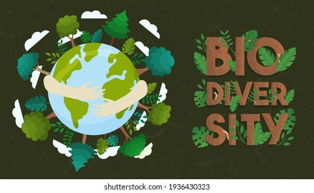 Biodiversity illustration of human hands hugging planet earth with wild plants and green trees. Global nature care or eco friendly campaign concept.