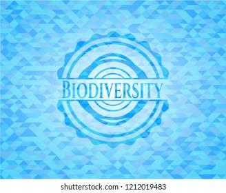 Biodiversity light blue emblem with mosaic background