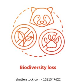 Biodiversity loss concept icon. Disappearance of plants and animals from planet idea thin line illustration in red. Extinction of species. Ecosystem hazards. Vector isolated outline drawing