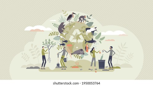 Biodiversity and natural species environmental protection tiny person concept. Climate action, forestation and recycling awareness to save animal extinction because of habitat loss vector illustration