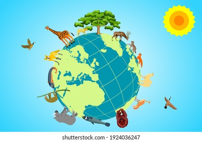 Biodiversity on the planet earth, wild animals and birds on the globe surface, vector concept