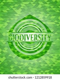 Biodiversity realistic green emblem. Mosaic background