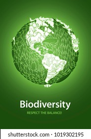 Biodiversity: respect the balance! Globe poster from american continent point of view. Easy to edit vector illustration, simple gradients, no transparencies. A2 format, with bleed area ready to print.