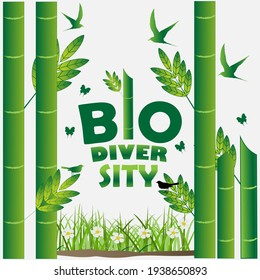 BIODIVERSITY typography design with green color foliage for environment day event . june 5th