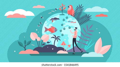 Biodiversity vector illustration. Flat tiny various wildlife persons concept. Mammals, birds, fishes and fauna life endangered conservation and retention. Earth climate awareness and habitat saving.