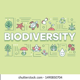 Biodiversity word concepts banner. Forest reserve. Maintenance of ecosystem. Underwater life. Presentation, website. Isolated lettering typography idea with linear icons. Vector outline illustration