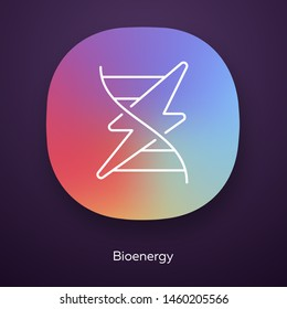 Bioenergy app icon. Biofuel. Organic matter for producing renewable energy. Converting biomass into electricity. UI/UX user interface. Web or mobile application. Vector isolated illustration