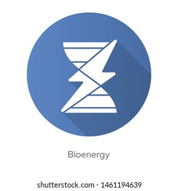 Bioenergy blue flat design long shadow glyph icon. Biofuel. Organic matter for producing renewable energy. Converting biomass into electricity. Vector silhouette illustration