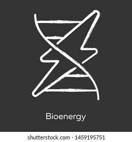 Bioenergy chalk icon. Biofuel. Organic matter for producing renewable energy. Body signaling using electrical impulses. Converting biomass into electricity. Isolated vector chalkboard illustration