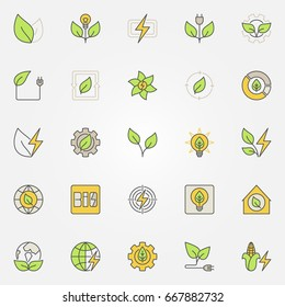Bioenergy colorful icons. Vector creative biomass signs and eco energy concept symbols