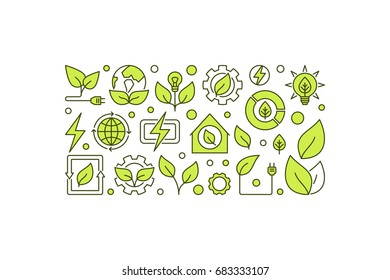 Bio-energy concept banner on white background. Vector clean green energy or bioenergy creative illustration