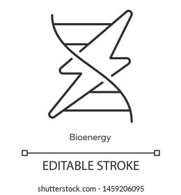 Bioenergy linear icon. Biofuel. Producing renewable energy. Converting biomass into electricity. Thin line illustration. Contour symbol. Vector isolated outline drawing. Editable stroke