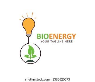 Bioenergy Logo. Light bulb with plant icon.