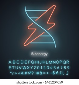 Bioenergy neon light icon. Biofuel. Organic matter for producing renewable energy. Converting biomass into electricity. Glowing sign with alphabet, numbers and symbols. Vector isolated illustration