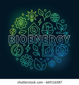 Bioenergy round colorful illustration - vector biomass concept sign. Thin line eco energy circular symbol on dark background