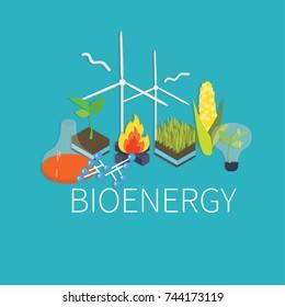 Bioenergy set of different  icons. Flat design concept with alternative bioenergy. Isometric icons vector illustration