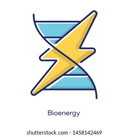 Bioenergy yellow color icon. Biofuel. Organic matter for producing renewable energy. Body signaling using electrical impulses. Converting biomass into electricity. Isolated vector illustration