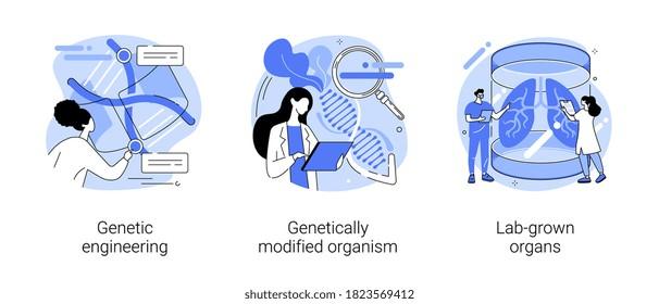 Bioengineering abstract concept vector illustration set. Genetic engineering, genetically modified organism, lab-grown organs, dna manipulation, stem cells, transplantation abstract metaphor.